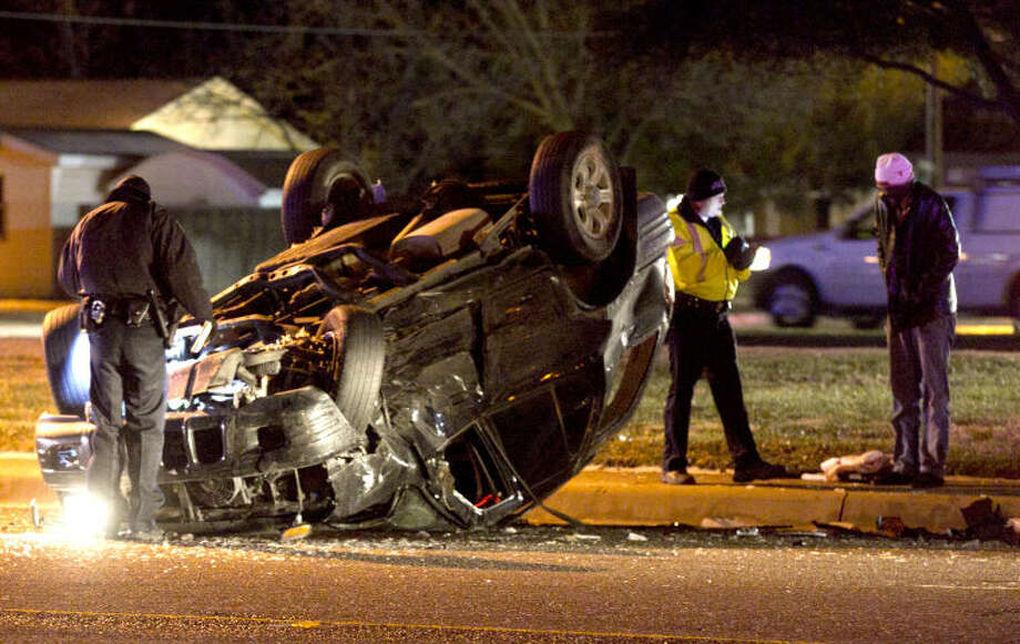 Authorities responded to a two-vehicle accident on Andrews Highway near Godfrey Street. An unknown number of occupants were transported to Midland Memorial Hospital with minor injuries after their car struck an SUV traveling westbound on Andrews Highway that lost control and slid into oncoming traffic, according to an officer at the scene. James Durbin/Reporter-Telegram Photo: JAMES DURBIN