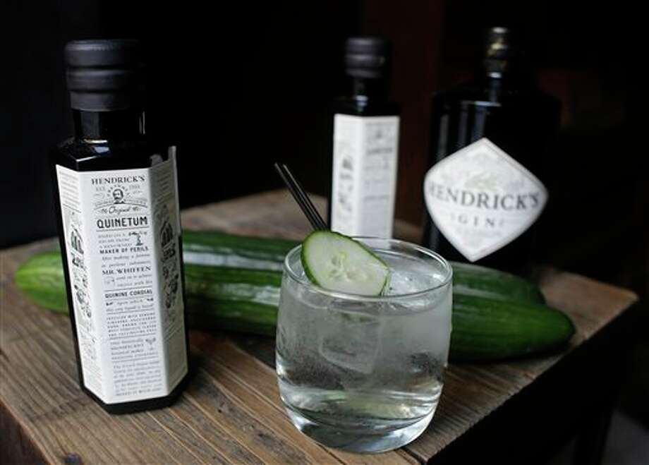 This Wednesday, Oct. 30, 2013 photo shows a cocktail made with sparkling water and Quinetum, a new quinine cordial made by Hendrick's Gin, at the Rickhouse bar in San Francisco. Quinetum is sold exclusively to a few bars around the country. (AP Photo/Eric Risberg) Photo: Eric Risberg / AP
