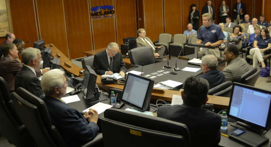 (File Photo) Stephen Brown, president of CAF, addresses the Midland City Council Tuesday as they ask questions about the proposed move of CAF Headquarters out of Midland. Tim Fischer\Reporter-Telegram Photo: Tim Fischer