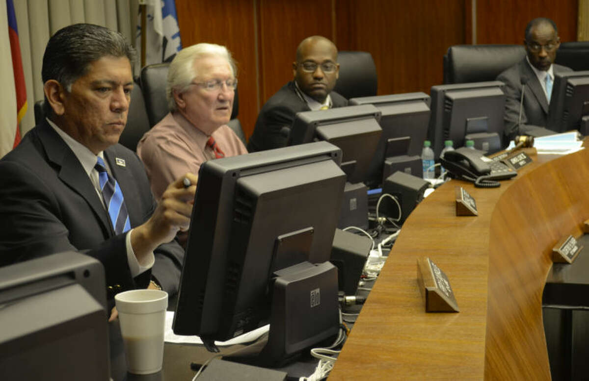 City Council member Michael Trost (second from the left) is seen here voting on all measures supporting the Energy Tower along with Jerry Morales, John Love III and John James in this file photo. Tim Fischer\Reporter-Telegram
