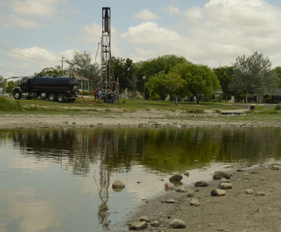 Drilling has started Thursday at Wadley Barron Park to try to find water to refill the pond. Tim Fischer\Reporter-Telegram Photo: Tim Fischer