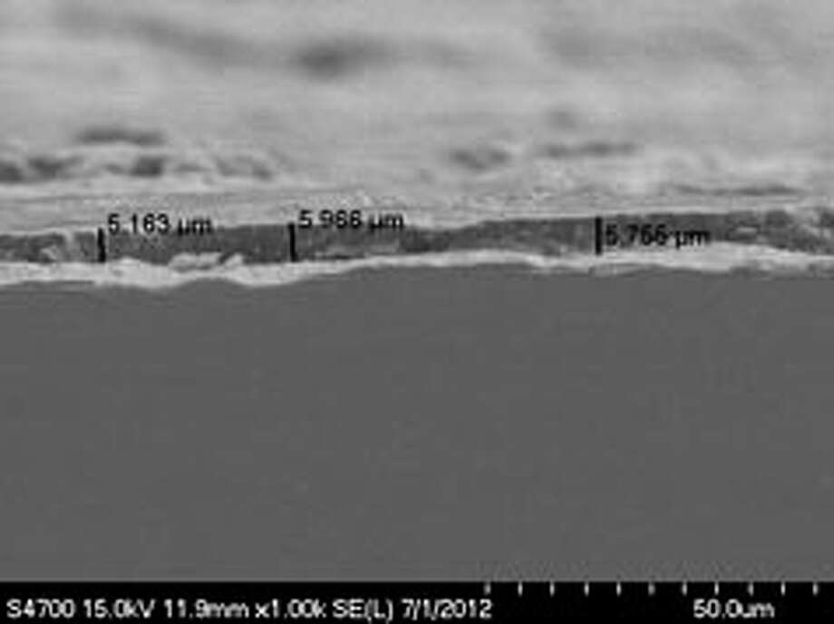 This cross sectional SEM view of DuraSeal coating shows the penetration of irregular substrate surfaces. To learn more, contact Tim Berendzen at timb@durasealcoatings.com.