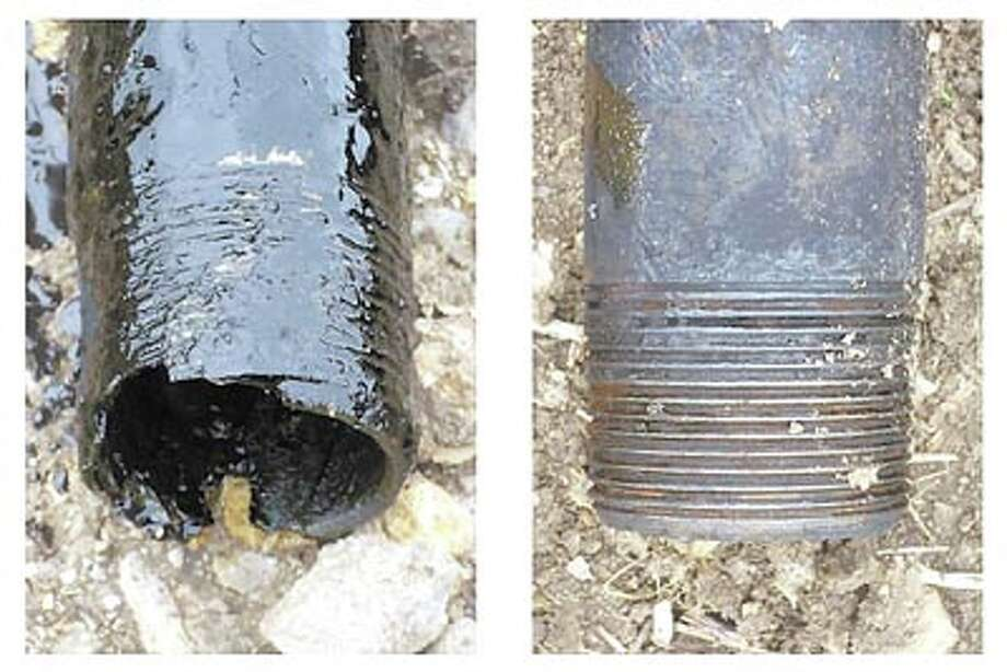 Uncoated pipe thread (left) failed quickly while a sample coated with DuraSeal nano-coating lasted more than two years under corrosive downhole conditions.