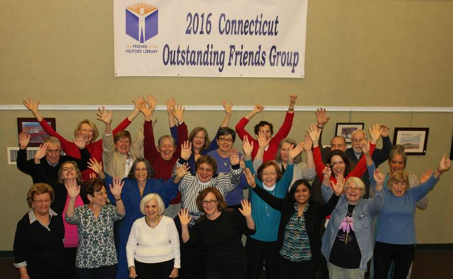 The Friends of the Milford Library celebrate their statewide award. Photo: Provided Photo