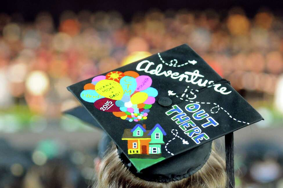 A graduate sends a message of excitement and gratitude via her mortar board during Skidmore College commencement exercises on Saturday, May 16, 2015, at Saratoga Performing Arts Center in Saratoga Springs, N.Y. (Cindy Schultz / Times Union)