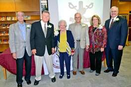 Lee Legacy 2012 Honorees from left; Sam Volpe, Paul Stueckler, Maridell Fryar, George Cooper, Connie Staton and Judge Kyle Peeler stand together after the induction ceremony Saturday in the Lee High Library. James Durbin/Reporter-Telegram