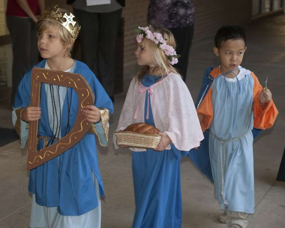Trinity School kindergarteners dress as a Saint Thursday for a special Chapel service in honor of All Saints Day. Tim Fischer\Reporter-Telegram Photo: Tim Fischer