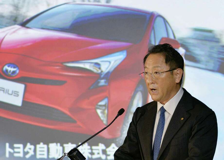 "Toyota Motor is projecting a 35 percent plunge in profit for the fiscal year through March 2017, as the perks of a favorable exchange rate fade, and it reported a 4 percent drop in profit for January-March. Toyota President Akio Toyoda told reporters, ""We believe that we have built up the strength to take on these challenges. However, our initiatives are still in the implementation phase."" Photo: Hitoshi Takano /Kyodo News / Kyodo News"