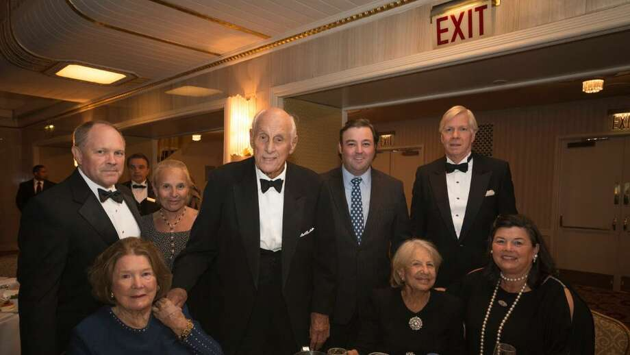 Attendees packed a recent gala honoring Big Brothers Big Sisters of New York City. Up front, from left, Mamie von Gontard, Sue Ann Weinberg and Vicky Skouras. In back, from left, Cort Delany, Sherry Delany, Greenwich resident Adie von Gontard, Andrew Footy and Spyros Skouras. Photo: / Contributed Photo