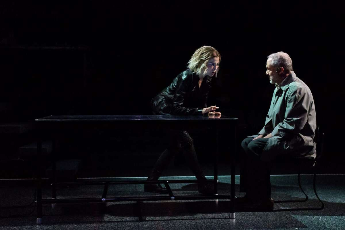 """Josie De Guzman as Morris and Philip Lehl as Doyle in """"The Nether,"""" a play by Jennifer Haley being performed at the Alley Theatre"""