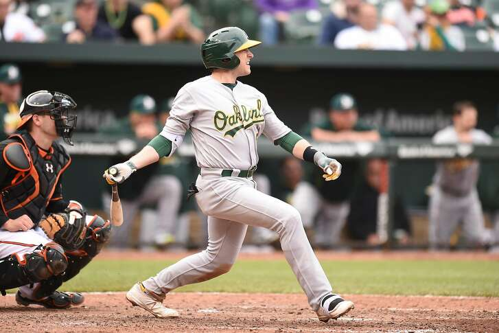 BALTIMORE, MD - MAY 7:  Jed Lowrie #8 of the Oakland Athletics singles in two runs in the fifth inning during game one of a double header baseball game against the Baltimore Orioles at Oriole Park at Camden Yards on May 7, 2016 in Baltimore, Maryland.  The Athletics won 8-4.  (Photo by Mitchell Layton/Getty Images)