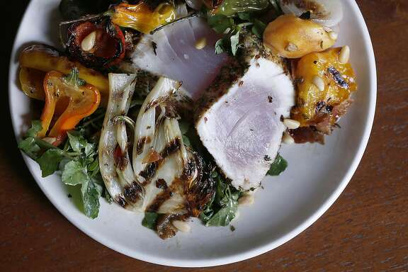 Chef Jen Biesty shares her recipe for Albacore tuna with gypsy peppers at home in San Francisco, California, on monday, may 9, 2016.