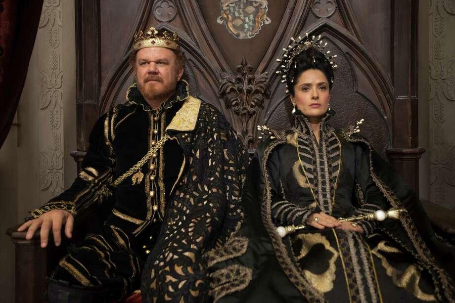 """John C.Reilly (King of Longtrellis) and Salma Hayek (Queen of Longtrellis) in Matteo Garrone's """"Tale of Tales."""""""