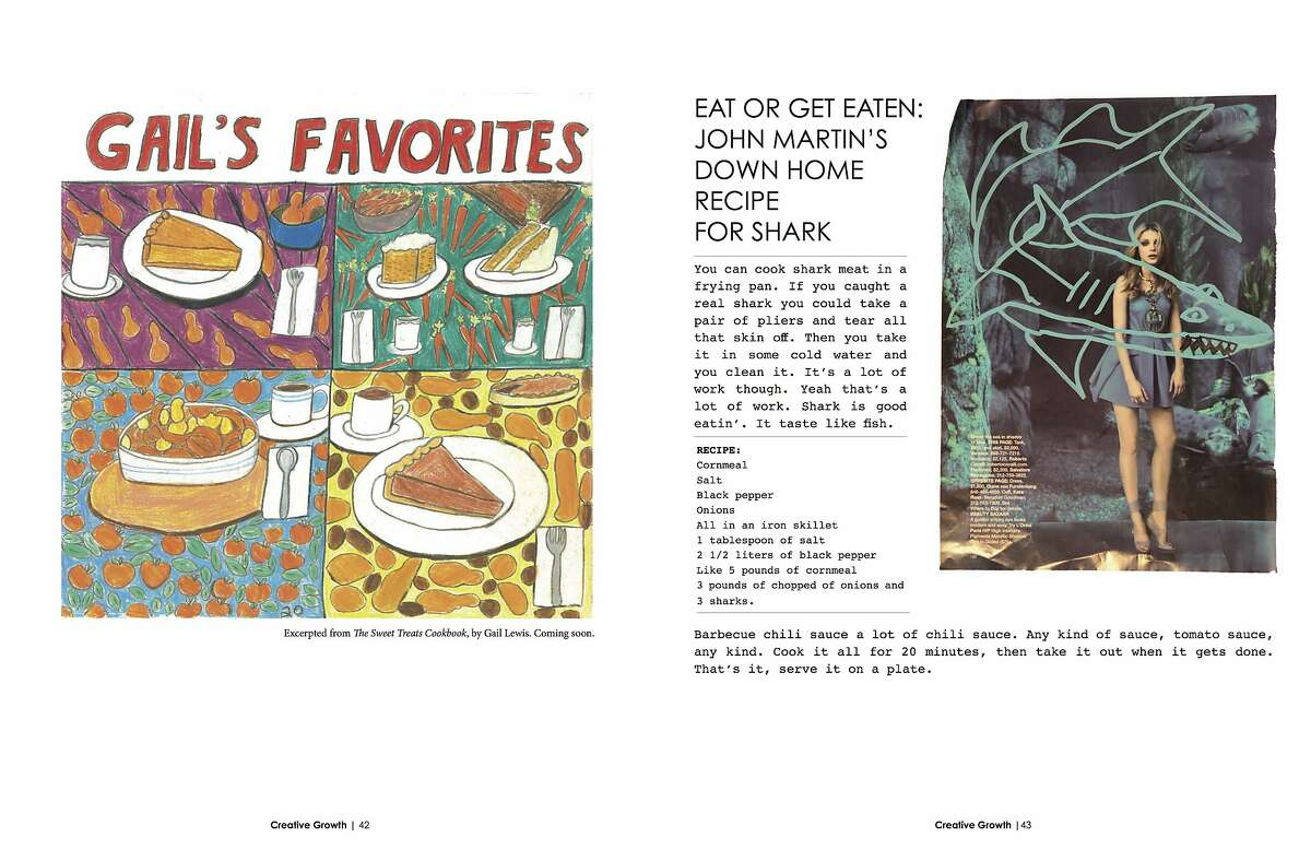 """A spread from Creative Growth Magazine, with an image by Gail Lewis and """"John Martin's Down Home Recipe for Shark."""""""