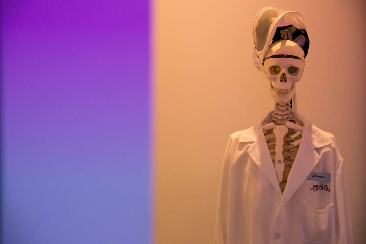 A display skeleton is dressed humorously in the Intellectual Ventures laboratory lobby.