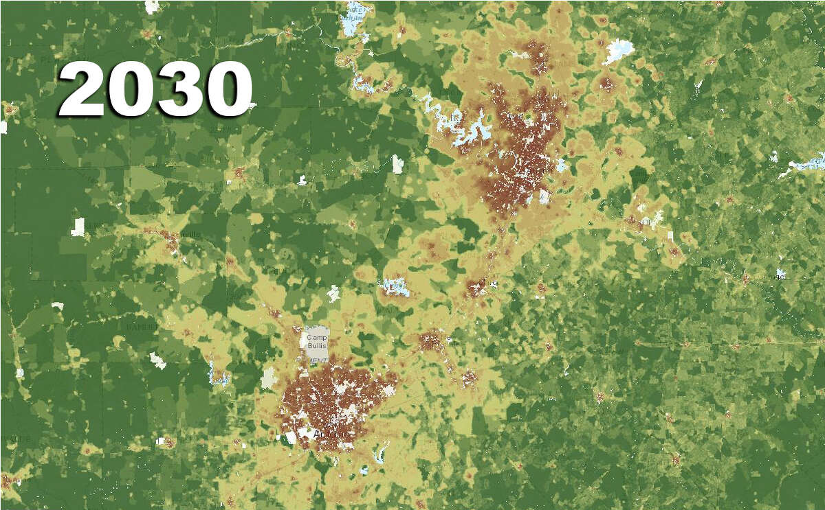 The San Antonio, New Braunfels and Austin area's projected housing density for 2030.