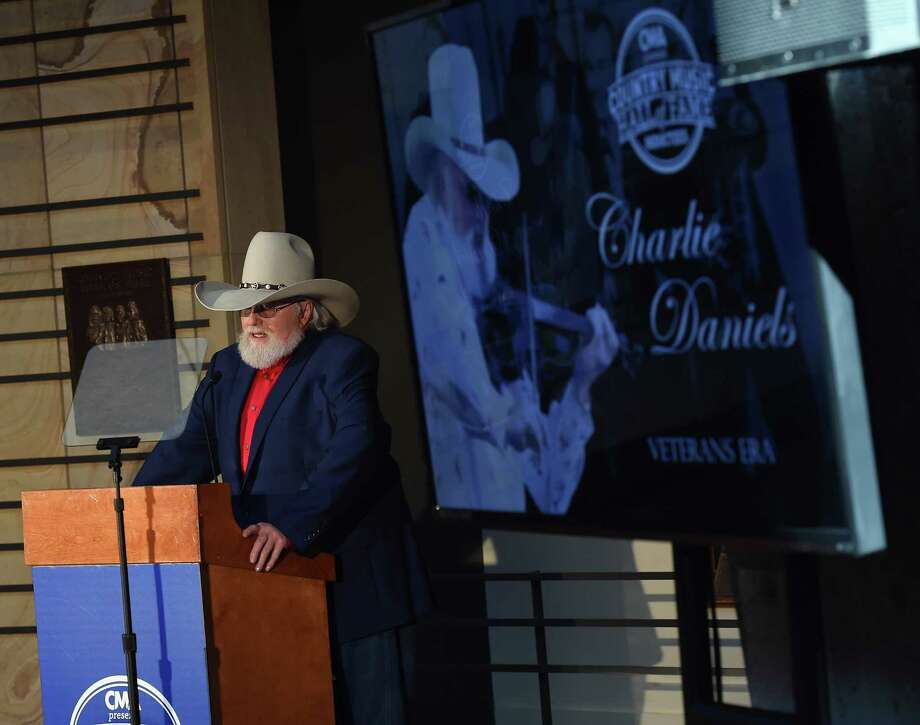 Charlie Daniels address the crowd at his induction into the Country Music Hall of Fame in Nashville, Tennessee, in March. Photo: Rick Diamond /Getty Images / 2016 Getty Images