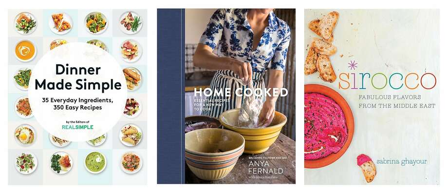 """Dinner Made Simple,"" by the editors of Real Simple; ""Home Cooked,"" by Anya Fernald with Jessica Battilana; ""Sirocco,"" by Sabrina Ghayour."