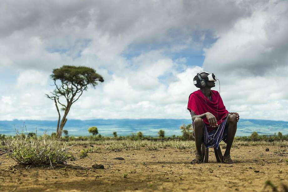 "OCULUS is promoting several virtual reality documentaries for its Gear VR, including�Felix & Paul Studios ""Nomads,""�a 360-degree view of the lives of several nomadic cultures. This shot shows Maasai warriors in Kenya, who also got a chance to view virtual reality on a Samsung Gear VR. Photo: Georgina Goodwin, Felix And Paul Studios"