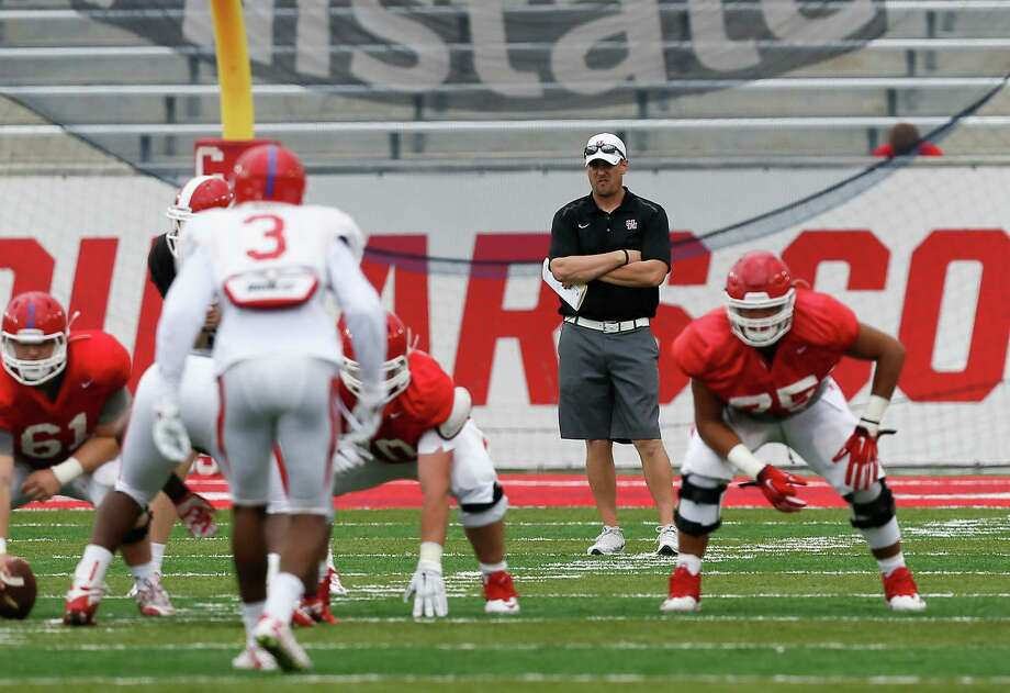 Houston Cougars head coach Tom Herman looks on during the Red-White spring game on April 16, 2016, in Houston. Photo: Bob Levey /For The Houston Chronicle / ©2016 Bob Levey