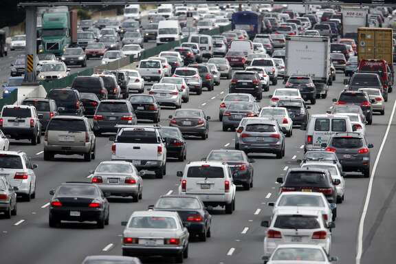 Traffic slows to a crawl in both directions of Interstate 80 near University Avenue during the afternoon commute in Berkeley, Calif. on Wednesday, May 4, 2016. A number of transportation tax proposals may wind up on the November general election ballot.