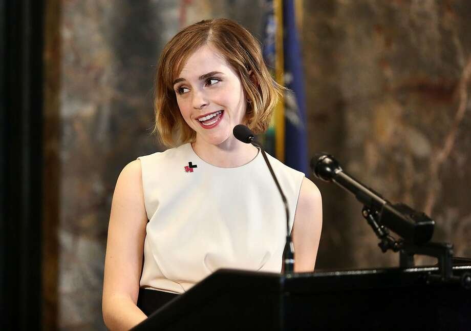 NEW YORK, NY - MARCH 08:  Actress Emma Watson speaks during The Empire State Building lighting In HeForShe Magenta For International Women's Day at The Empire State Building on March 8, 2016 in New York City.  (Photo by Astrid Stawiarz/Getty Images) Photo: Astrid Stawiarz, Getty Images