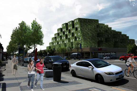 A green hill for El Cerrito: as part of an architecture course at UC-Berkeley's College of Environmental Design, senior Yasamin Shushtarian designed a vegetated six-story residential tower that would go on top of an existing hardware store on San Pablo Avenue.