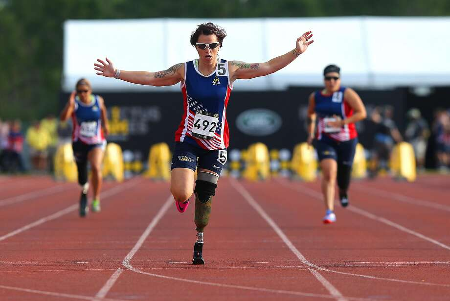 Rudder won the 100-meter race, one of her seven medals won in the Parlympic portion of the Invictus Games. Photo: Alex Menendez, Getty Images