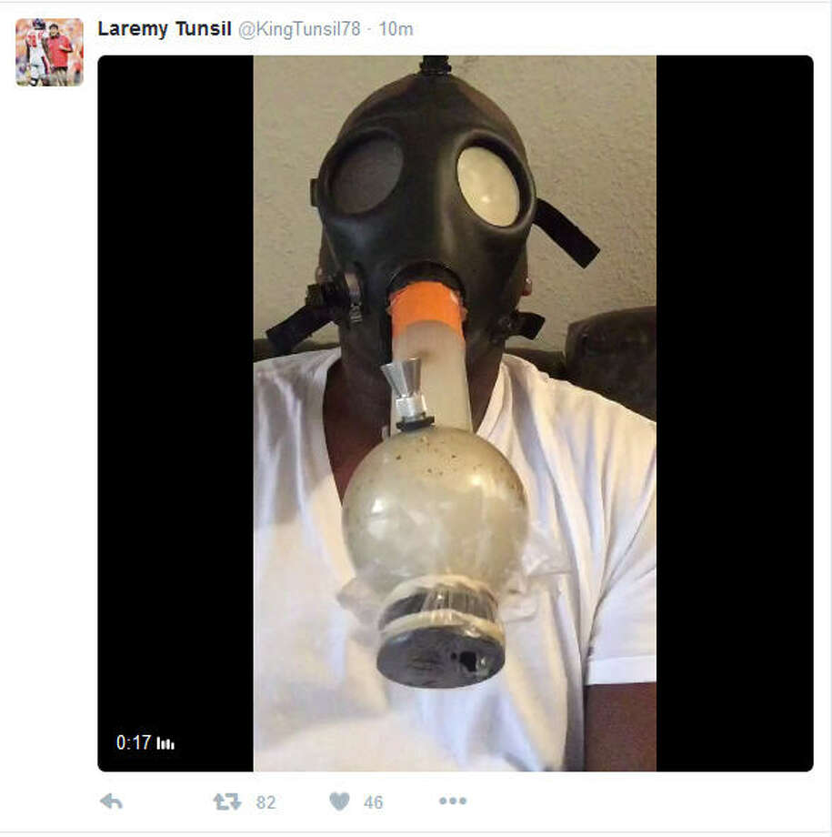 This video of Mississippi offensive lineman Laremy Tunsil wearing a gas mask and smoking an unknown substance from a bong was posted on his Twitter account right before this year's NFL draft started. Tunsil and his agent claim he was hacked. He slid to 13th in the draft after at one point being considered the likely No. 1 overall pick. Photo: Twitter