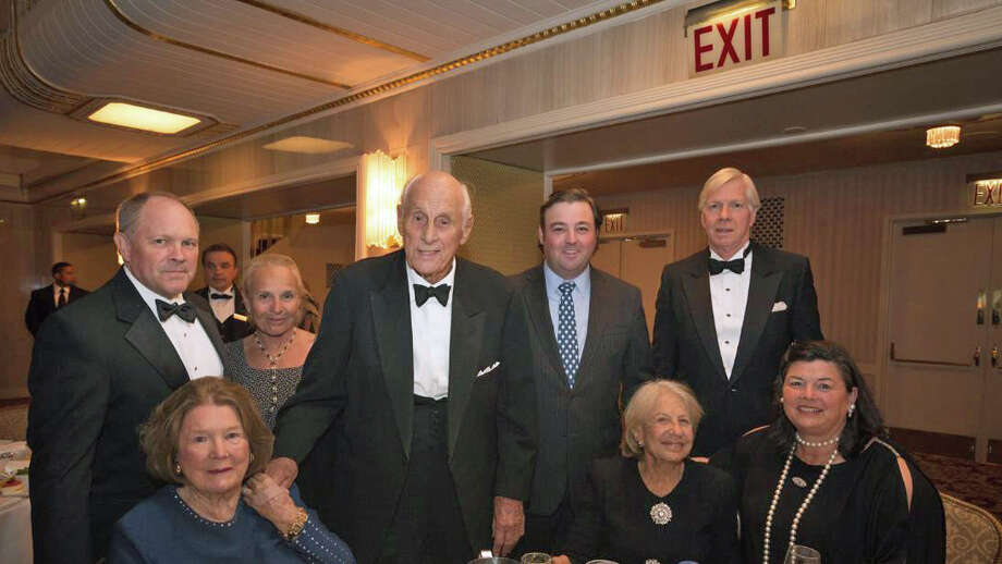 Attendees packed a recent gala honoring Big Brothers Big Sisters of New York City. Up front, from left, Mamie von Gontard, Sue Ann Weinberg and Vicky Skouras. In back, from left, Cort Delany, Sherry Delany, Greenwich resident Adie von Gontard, Andrew Footy and Spyros Skouras. The gala, held at the Waldorf Astoria Hotel in Manhattan, honored 2015 NFL MVP, Caroline Panthers quarterback Cam Newton; Charles Phillips, chief executive officer of Information; and Lisa Sherman, the president and CEO of the Ad Council, a non-profit group behind iconic campaigns lfor Smokey Bear and Love has No Labels. The event  raised more than $2.3 million to support the organization's mission of providing at-risk youth across New York City with positive adult role models. BBBS of NYC currently serves more than 5,000 young people throughout the five boroughs each year through a variety of specialized mentoring programs. For more information on Big Brothers Big Sisters of NYC or to volunteer people can go online to www.bigsnyc.org . Photo: Contributed / Contributed Photo / Greenwich Time Contributed