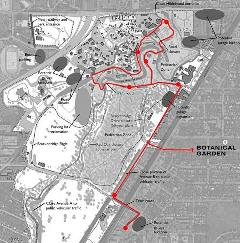 Proposed route of circulator tram in Brackenridge Park.