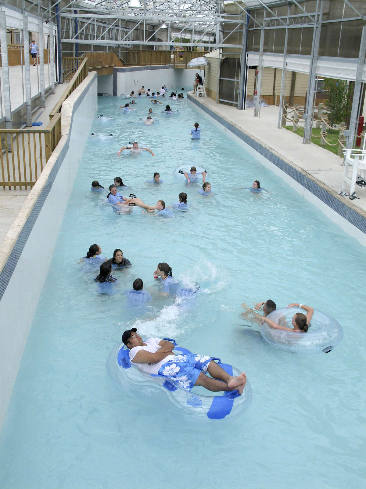The gentle flows are a family-friendly liquid merry-go-round, and park-goers can float through Wasserfest and Surfenburg for as long as they want at Schlitterbahn Galveston Island Waterpark in Galveston, Texas. (Mary Ellen Botter/Dallas Morning News/MCT)