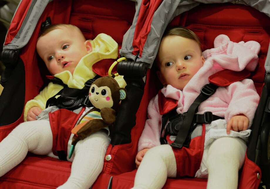 Twins Sydney and Alexis Swavy, born at 32 weeks, attend Bridgeport Hospital's annual NICU reunion on May 7. The Neonatal Intesive Care Unit (NICU) is for babies who've spent time there after being born premature. Photo: Christian Abraham / Hearst Connecticut Media / Connecticut Post