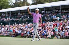 CHARLOTTE, NC - MAY 08:  James Hahn celebrates after defeating Roberto Castro in a playoff during the final round of the 2016 Wells Fargo Championship at Quail Hollow Club on May 8, 2016 in Charlotte, North Carolina.  (Photo by Streeter Lecka/Getty Images)