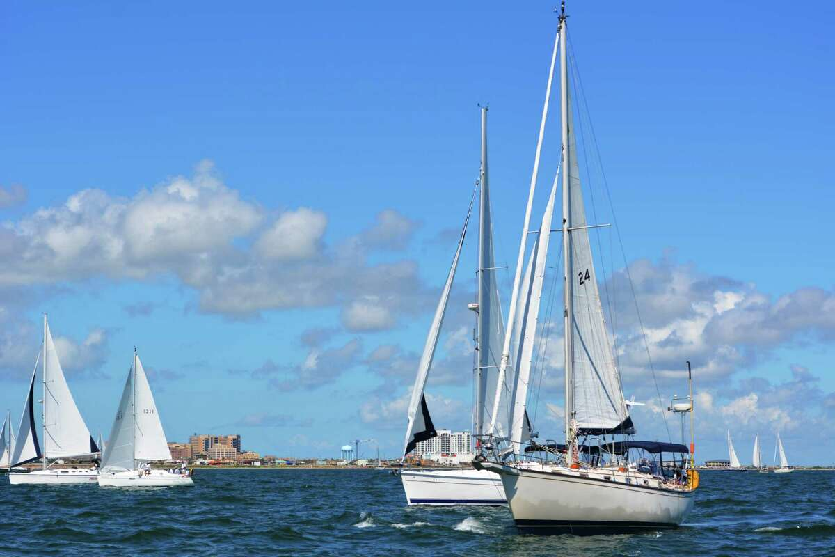 Coho, a 42-foot Catalina sailboats participates in the Lakewood Yacht Club's annual Harvest Moon Regatta, from Galveston to Port Aransas.