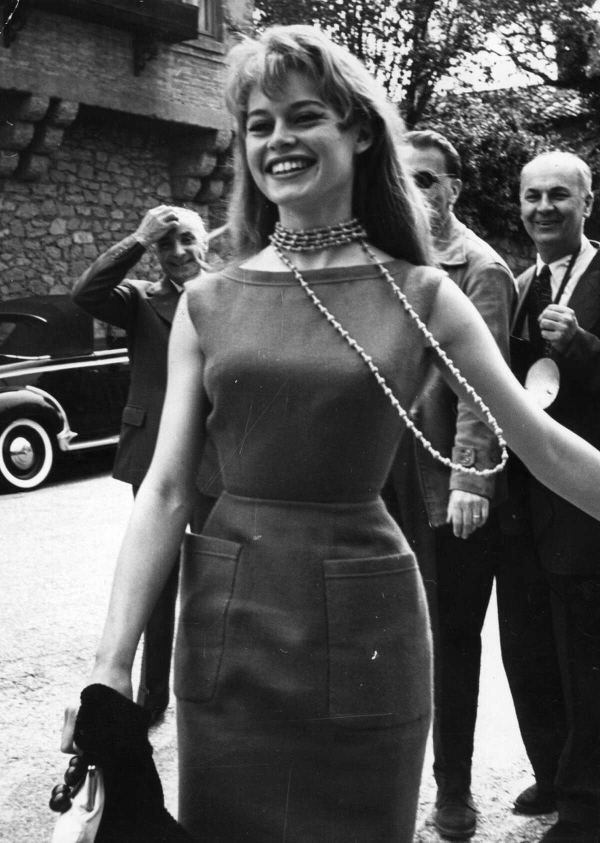 French film actress Brigitte Bardot arriving at Cannes Film Festival in 1956.