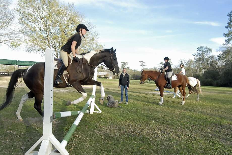 """With Kendall Sill (15-year-old 9th grader at Episcopal H.S) jumping with """"Otto"""" at left - Merrily Quincoces offers riding lessons at the Houston Polo Club Wednesday 2/27/13. At right is Cristina Jordan (13-year-old 7th grader at Spring Branch Middle School) atop """"Hanna"""" and behind her is Gavi Silverman (14-year-old 8th grader at Awty International School) atop """"Toby"""". Photo by Tony Bullard. Photo: Tony Bullard 2013, Freelance Photographer / © Tony Bullard & the Houston Chronicle"""