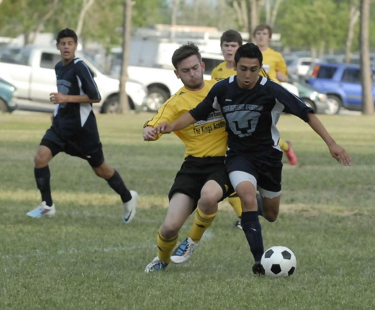 Soccer teams square off in Bear Creek Park.