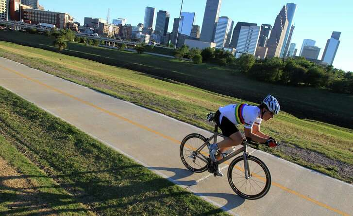 Cyclist can use the Heights Bike Trail along the Buffalo Bayou.