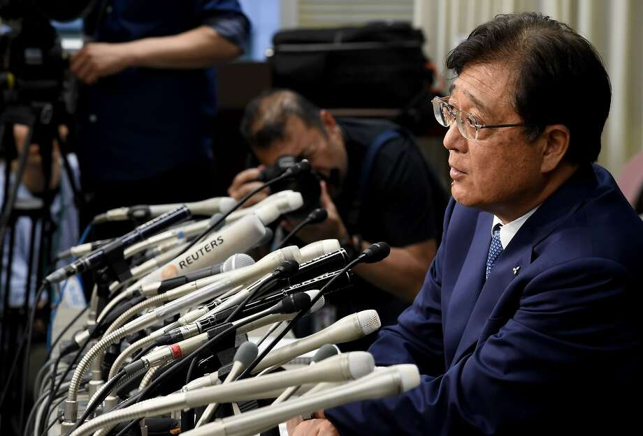 Mitsubishi Motors Chairman and CEO Osamu Masuko speaks during a press conference at the transport ministry in Tokyo on May 11, 2016.  Mitsubishi Motors cheated on fuel-efficiency testing for almost every model it sold in Japan in the last 25 years, a report said on May 11, fuelling questions about the size of a scandal that has plunged the automaker into crisis. / AFP PHOTO / TOSHIFUMI KITAMURATOSHIFUMI KITAMURA/AFP/Getty Images Photo: TOSHIFUMI KITAMURA, AFP/Getty Images
