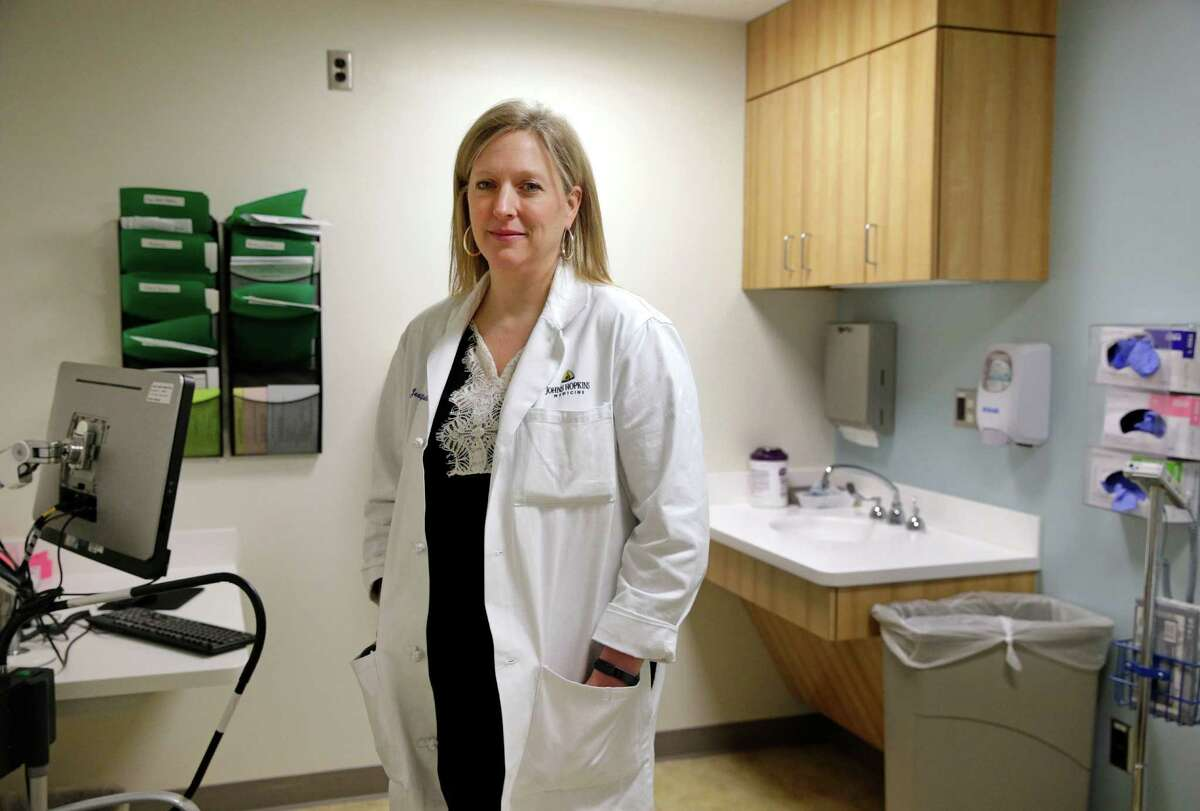 In this April 28, 2016 photo, Dr. Jeanne Sheffield, a Johns Hopkins University obstetrician who has advised the CDC on Zika-related pregnancy issues, poses in an examination room in at Johns Hopkins Hospital in Baltimore. (AP Photo/Patrick Semansky)
