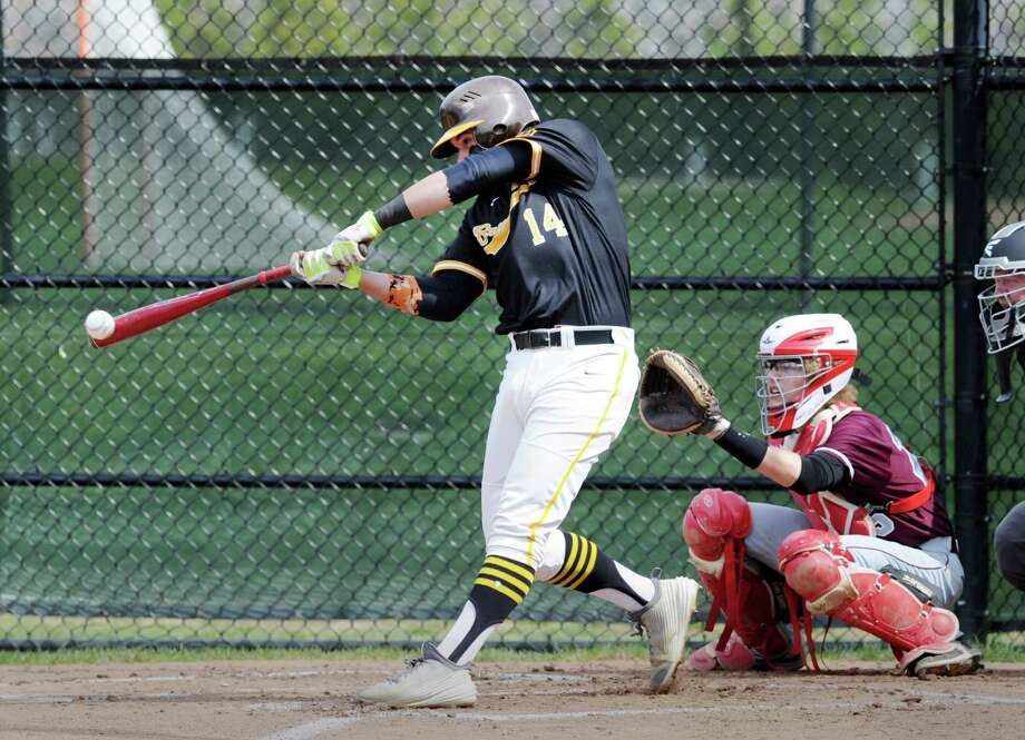 Brunswick's Aaron Sabato smacks a double during the Bruins' 7-5 victory over Hopkins School on Wednesday in Greenwich. Sabato finished with two doubles and three RBIs. Photo: Bob Luckey Jr. / Hearst Connecticut Media / Greenwich Time