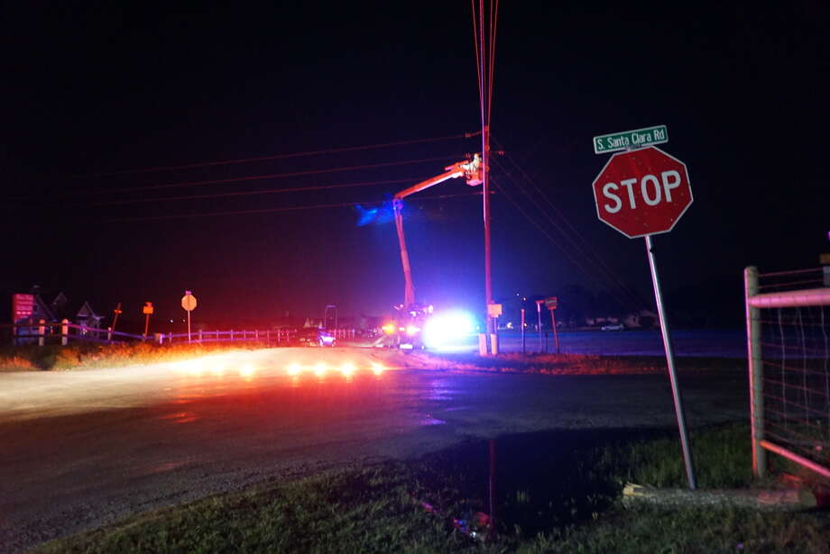 A man allegedly led police on a 30 minute chase through Bexar County after a deputy attempted a traffic stop at Interstate 35 and Walzem on May 11, 2016. The pursuit ended at about 8:30 p.m. in the 1400 block of Lower Seguin in Guadalupe County when the driver crashed into a power line and a fence. Photo: Jacob Beltran