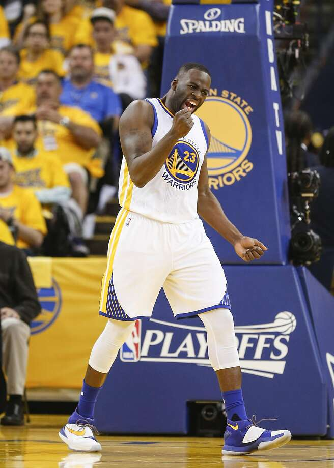 Golden State Warriors Draymond Green reacts in the second quarter during Game 5 of the NBA Playoffs at Oracle Arena on Wednesday, May 11, 2016 in Oakland, Calif. Photo: Scott Strazzante, The Chronicle