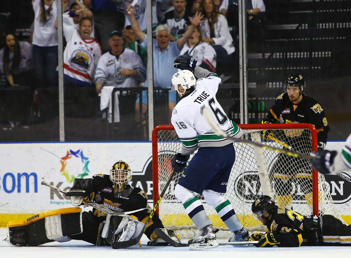 Seattle's Alexander True (16) scores a third goal for the Thunderbirds during the second period of the fourth game of the best of seven WHL Championship Series against the Brandon Wheat Kings Wednesday, May 11, 2016 at ShoWare Center in Kent. Thunderbirds won 6-1. (Genna Martin, seattlepi.com)