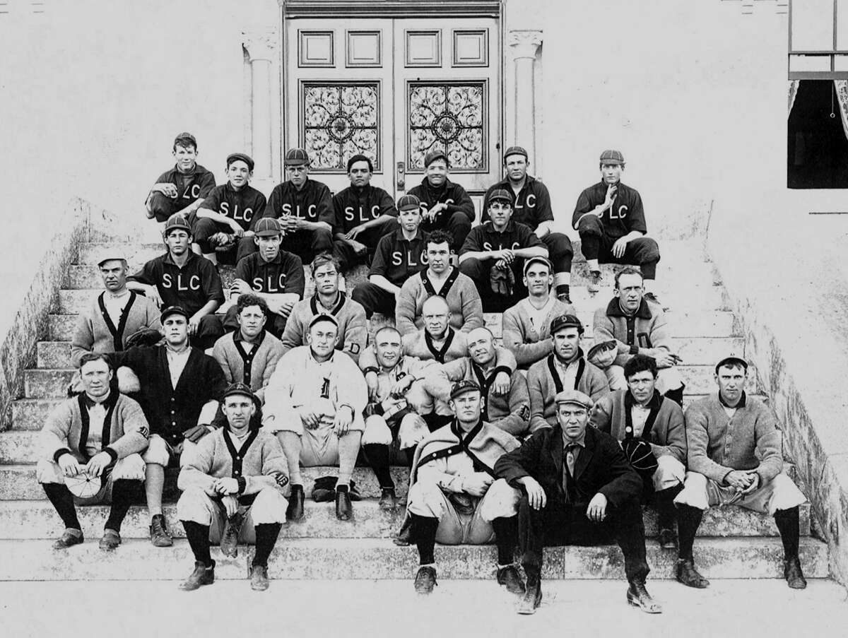 Check out the long sleeves on the 1910 baseball team at St. Louis College, which later became St. Mary's University. They had no AC, but do you think they complained about the heat?