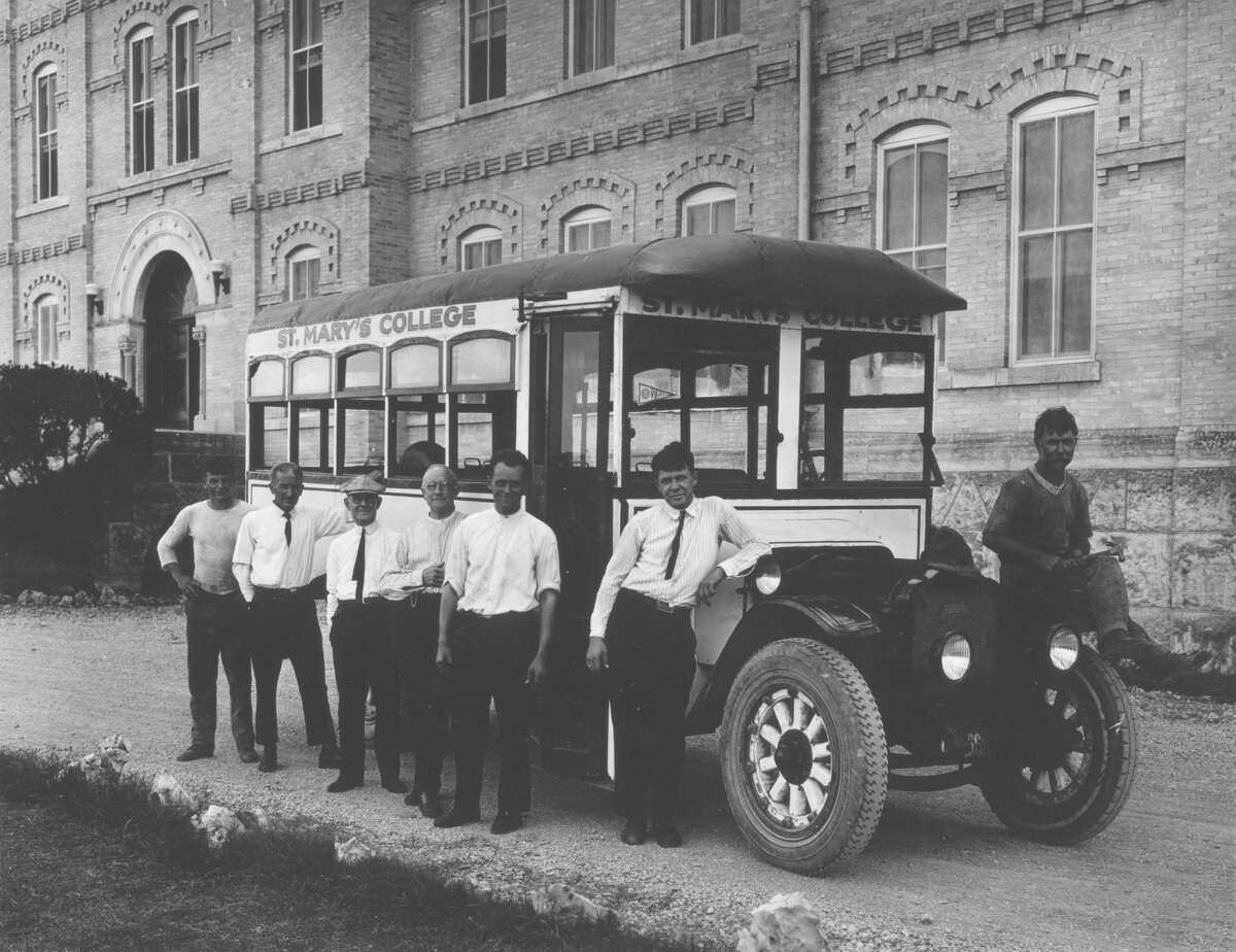 The San Antonio Transit Company, which later became VIA, didn't have air-conditioned buses until 1948. The windows on this St. Mary's College bus from the 1920s were probably always open.