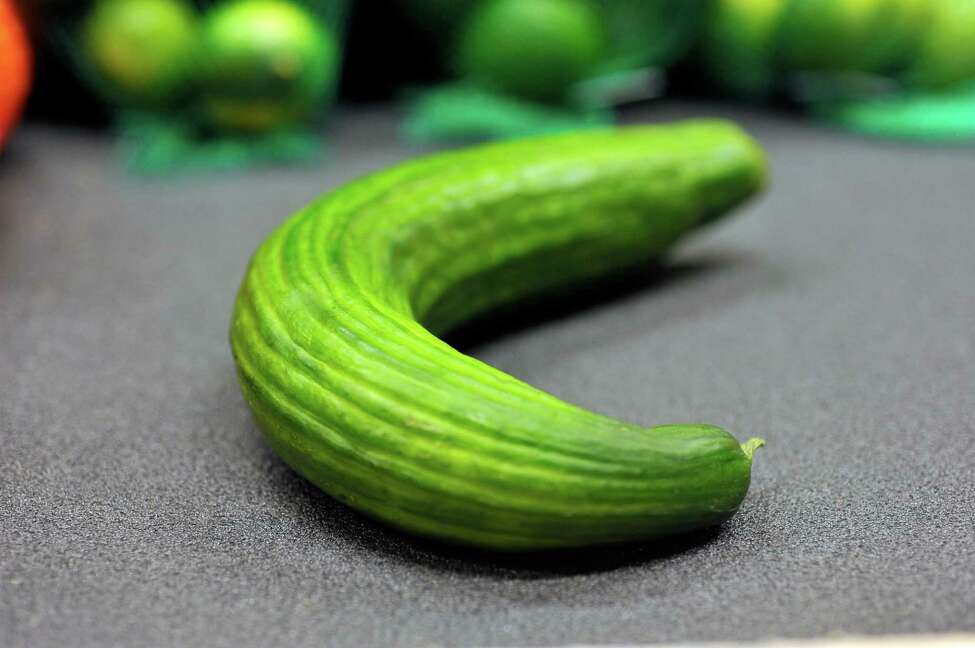 A view of a misshapen cucumber at the Hannaford on Central Ave., on Tuesday, May 12, 2016, in Albany, N.Y. (Paul Buckowski / Times Union)