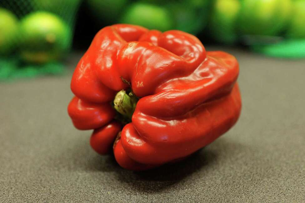 A view of a misshapen and scarred pepper at the Hannaford on Central Ave., on Tuesday, May 12, 2016, in Albany, N.Y. (Paul Buckowski / Times Union)