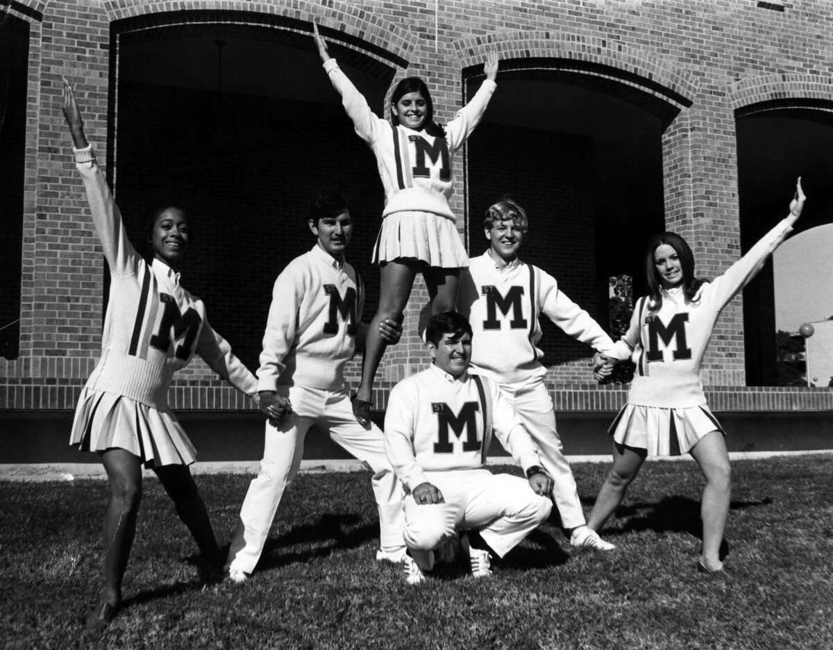 St. Mary's University has gleamed with student clubs, dances and athletics from its establishment in 1852 to today.In this photo, cheerleaders pose for a photo in 1970.